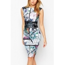 Womens Chic Stylish Floral Painting Round Neck Sleeveless Midi Pencil Dress