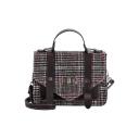 Designer Fashion Vintage Plaid Pattern Belt Embellishment School Satchel Bag 20*7*16 CM