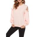 Chic Sheer Mesh Panel Ruffled Long Sleeve Round Neck Plain Casual Pink Sweatshirt