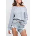 Womens Sexy Off the Shoulder Long Sleeve Simple Plain Cropped Sweatshirt