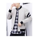 Mens New Fashion Cool Letter Stripe Printed Stand Collar Long Sleeve Zip Up Fitted Jacket