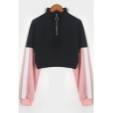 Color Block Tape Long Sleeve Half-Zip Stand Collar Cropped Black Sweatshirt