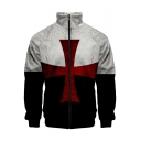 Popular Knights Templar Red Cross Print Stand Collar Black and White Zip Up Jacket
