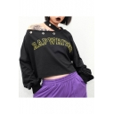 Girls Punk Style Cool Letter RAP WRITER Print Cold Shoulder Long Sleeve Black Casual Crop Sweatshirt