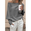 Popular Fashion Solid Color One Shoulder Batwing Long Sleeve Casual Loose Sweater