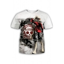 Popular Comic Character Printed Round Neck Short Sleeve White T-Shirt
