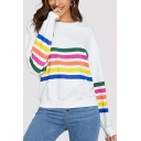 Womens Chic Colorful Stripe Printed Basic Round Neck Long Sleeve White Sweatshirt