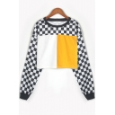 Stylish Colorblock Checkerboard Pattern Round Neck Long Sleeve Cropped Sweatshirt