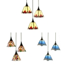 3 Lights Suspension Light Tiffany Antique Glass Hanging Light in Beige/Blue/Multi-Color for Office