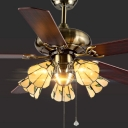 52 Inch 5 Light Ceiling Fan Rustic Stylish Semi Flush Ceiling Light for Hotel Living Room