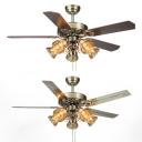Glass Bell Villa Ceiling Fan 5 Lights Vintage Semi Flush Ceiling Light with Metal/Wood Blade for Villa