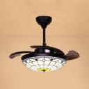 Art Glass Grid Bowl Ceiling Fan with 3 Blade Bedroom Tiffany Stylish Semi Flush Ceiling Light in White