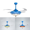 Tiffany Style Dome Semi Ceiling Mount Light with Blade Glass 42 Inch Remote Control LED Ceiling Fan for Hotel