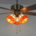 Grid Dome Villa Ceiling Fan with Pull Chain Glass 3 Head 42 Inch Antique LED Semi Flush Ceiling Light