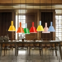 Metal Bucket Shade Hanging Light One Light Contemporary Candy Colored Ceiling Light for Restaurant