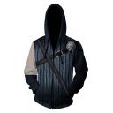 Wolf Head Print 3D Comic Cosplay Costume Long Sleeve Zip Up Navy Hoodie