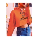 Girls Cool Street Style Letter CUTE BUT CALLOUS Print Floral Long Sleeve Orange Crop Hoodie