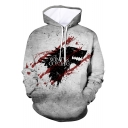 Unique Blood Wolf Head WINTER IS COMING Loose Fit Unisex Grey Hoodie