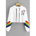 Stylish Heart Letter LOVE Print Rainbow Striped Long Sleeve Cropped Hoodie