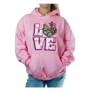 Unique Letter LOVE Pattern Loose Fit Pullover Pink Hoodie