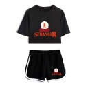 Summer Popular Stranger Things Letter Hat Print Crop Tee Loose Fit Shorts Sport Two-Piece Set
