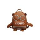 Cute Cartoon Bear Stripe Letter CAMRE Print Casual Backpack for Girls 18*25*11 CM