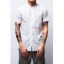 Mens Summer Trendy Stand Collar Four-Button Front Short Sleeve Casual Linen Shirt