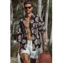 Summer Holiday Tropical Leaf Printed Black Long Sleeve Casual Beach Hawaiian Shirt for Men