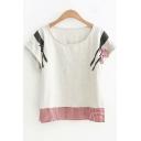 Summer Sweet Pattern Girls Basic Round Neck Short Sleeve Loose Fit T-Shirt