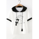 Summer Cute Letter Lovely Baby Cat Pattern Hooded Short Sleeve White Loose T-Shirt