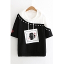 Fashion Cartoon Printed Two-Tone Patched Hooded Casual Black and White T-Shirt