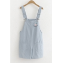 Simple Sweet Pearl Embroidery Summer Girls Casual Relaxed Overall Shorts