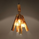 Tube & Open Bulb Chandelier Rustic Style Bamboo Pendant Light in Beige for Bar Coffee Shop