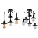 Factory Saucer Shade Semi Ceiling Mount Light Metal 3/5 Lights Vintage Style Black Ceiling Light
