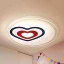 Acrylic Heart & Feet Flush Mount Light Girls Bedroom Kids Ceiling Lamp with Warm/White Lighting