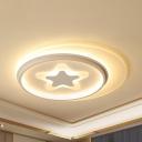 Kids Starfish LED Ceiling Lamp Acrylic Warm/White Lighting Flush Ceiling Light for Nursing Room