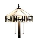 3 Heads Lodge Floor Light with Deer American Rustic Glass Floor Lamp in Beige for Living Room