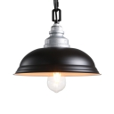 One Light Dome Pendant Lamp Antique Stylish Glass Hanging Light in Black Finish for Factory