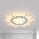 Cute Floral Theme Flush Mount Light Acrylic Third Gear/White Lighting LED Ceiling Light for Nursing Room