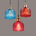 Contemporary Lattice Bowl Hanging Light Glass One Light Blue/Red/Rose Red Hanging Lamp for Bar