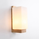 Nodic Lamp Nature Rubber Wood Base Led Wall Light with Acrylic Shade Oblong Sconce