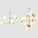 Globe Shape Living Room Chandelier Milk Glass Wood Nordic Stylish Hanging Light in White
