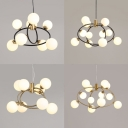 Modern Ring Chandelier with Globe Shade Milk Glass 8/12 Lights Black/Gold Pendant Light for Dining Room