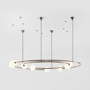 Creative Concentric Ring Pendant Lamp Metal 8 Lights White Chandelier with Orb Shade for Living Room