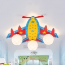 Airplane Child Bedroom Ceiling Mount Light Wood Glass 3/4 Lights American Style Flush Light in Blue