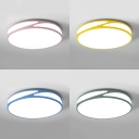 Blue/Green/Pink/Yellow Flush Ceiling Light Nordic Style Acrylic LED Ceiling Fixture with Warm/White Lighting for Teen