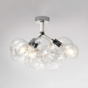 Hallway Bubble LED Semi Flush Ceiling Light Clear Glass 3/4/6 Lights Chrome/Gold Ceiling Lamp