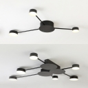 Metal Circle Semi Flush Ceiling Light 3/6 Heads Modern Black Ceiling Lamp with White Lighting