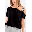 Summer Unique Letter Strap Cold Shoulder Short Sleeve Casual Loose T-Shirt