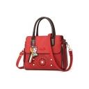 Fashion Solid Color Hollow-out Double Zipper Side Pearl Embellishment Commuter Satchel Bag 27*13*22 CM